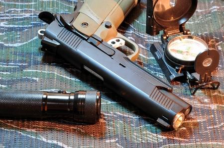 Nine millimeter automatic pistol.