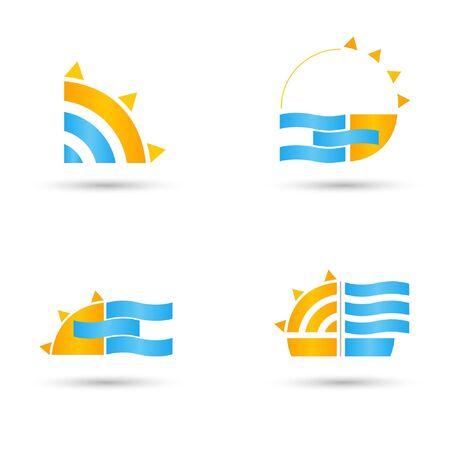 Sun and Sea Emblem  Vector