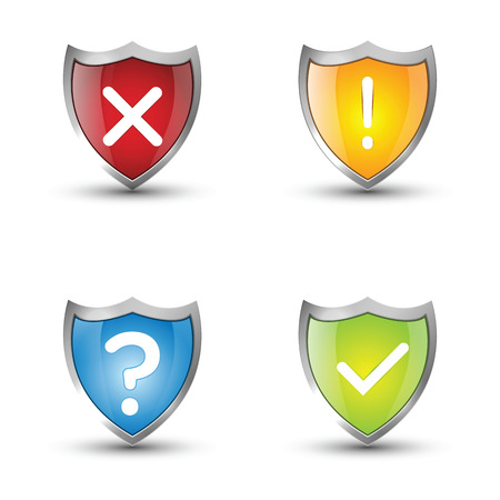 blue shield: Shield Signs on white background  Illustration