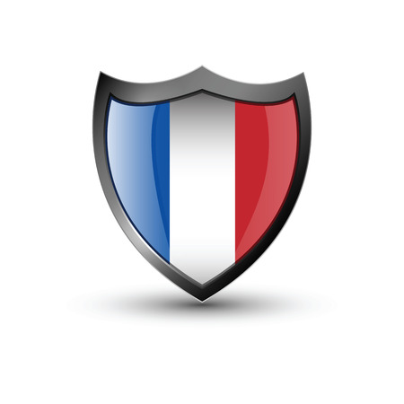 francaise: Shield flag on the white background