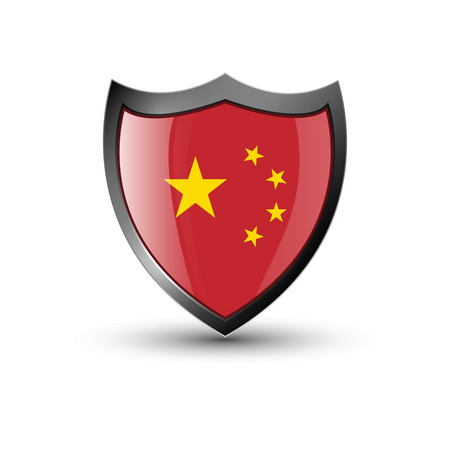chinesse: Shield flag on the white background
