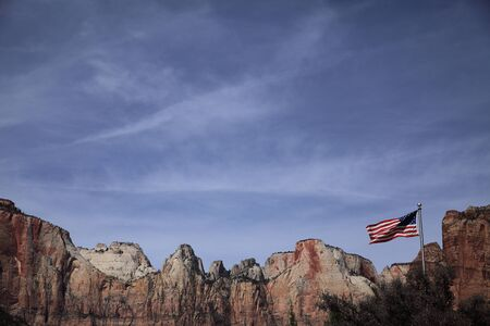 In the canyon America flag