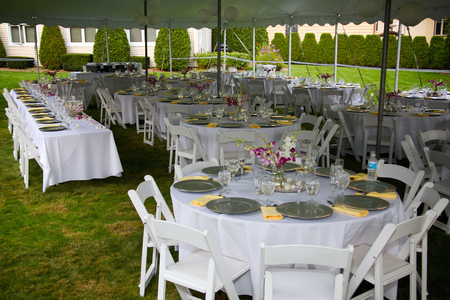 reception table: Deluxe White Wedding Banquet Tables   Tent