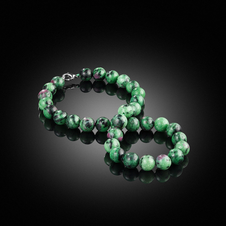 Green natural stone heliotrope chalcedony necklace