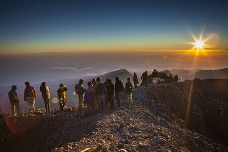 morn: The top of Rinjani Mt  3,726m  Lombok island, Indonesia - August 12, 2012