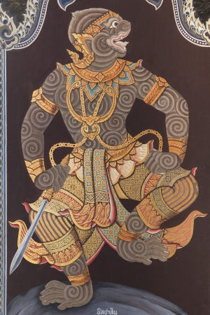 mural of Ramayana at the door of The Grand Palace and The Emerald Buddha Temple in Bangkok Thailand Stock Photo - 15270990