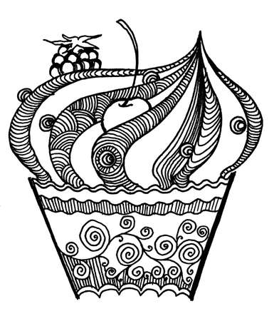 Cupcake cartoon, sketch, hans draw doodling graphic illustration, black and white Zdjęcie Seryjne