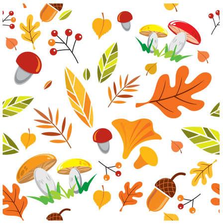 vector seamless autumn pattern, leaves, berries, mushrooms on white background Ilustração Vetorial