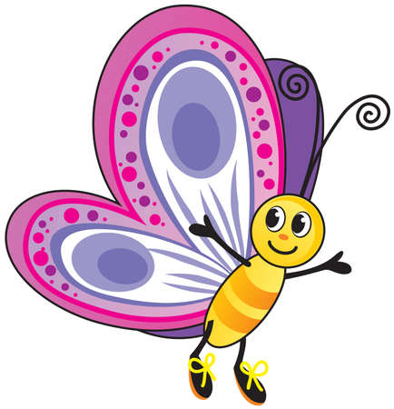 children illustration funny vector butterfly colorful cartoon