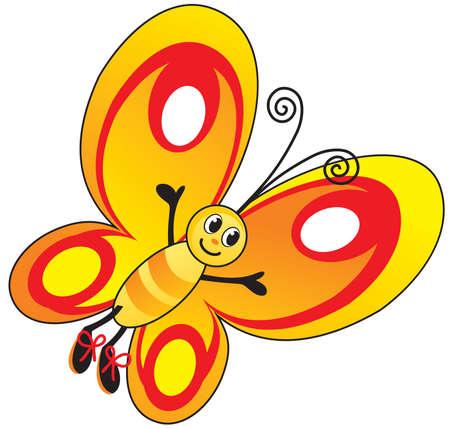 children illustration funny vector butterfly yellow-red cartoon Ilustracja