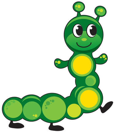 vector illustration caterpillar funny, cartoon