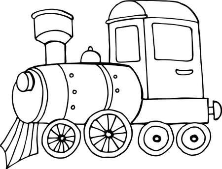 toy steam locomotive, line art sketch, black and white illustration for children 版權商用圖片 - 157102452