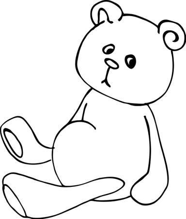toy, cute teddy bear, line art, black and white illustration, hand draw sketch, vector Illusztráció