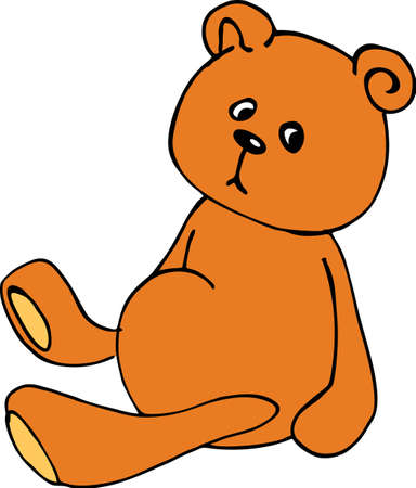 toy, cute teddy bear, brown color, colorfull illustration, hand draw sketch, vector