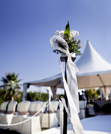 outdoor ceremony. Decoration of celebrations Standard-Bild