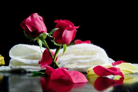 rosas rojas: Junto con dos rosas rojas p�talos rojos en un fondo negro en una poes�a bufanda.