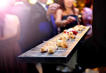 Catering Service. Moderne voedsel of voorgerecht voor evenementen en feesten. Stockfoto