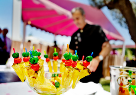 catering and cocktail outdoors. Food events and celebrations with carp. fruit