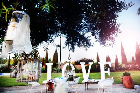 결혼식: 야외 행사. 축제의 장식입니다. 애정. 웨딩 대패. 정원에서 결혼식