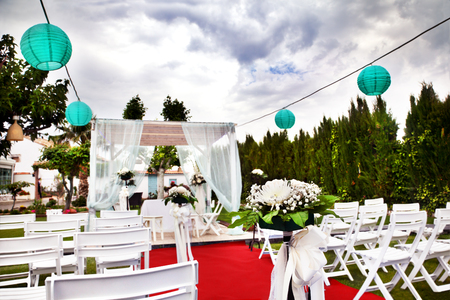 Outdoor ceremony. Decoration of celebrations. weddings in the garden