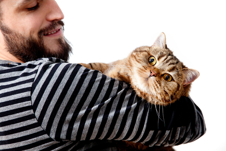 Bearded man with his beautiful cat on white background. Standard-Bild - 118816008