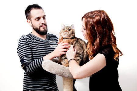 Young couple with their cat at home Standard-Bild - 118816021
