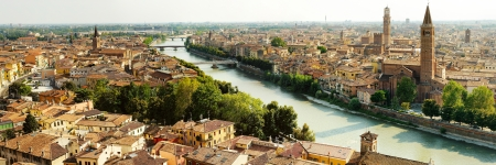 beautiful panoramic view of Verona and bridges