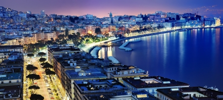 wonderful Naples panoramic view by night photo