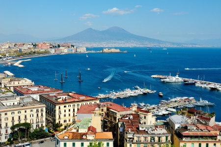 wonderful Naples panoramic view with Vesuvius and gulf from Posillipo Фото со стока
