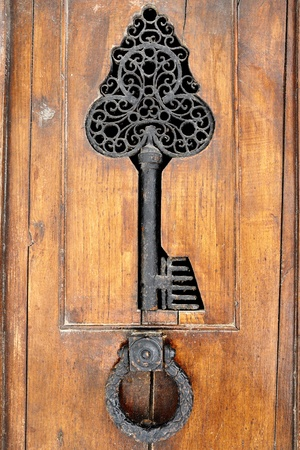 detail and knocker of a vintage wooden door