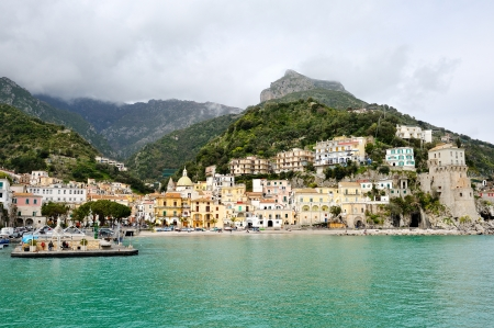 beautiful view from the sea of Cetara, Amalfi Coast, Italy Banco de Imagens