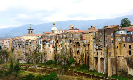 rupestrian: picturesque view of old medieval buildings in SantAgata dei Goti near Naples, Italy
