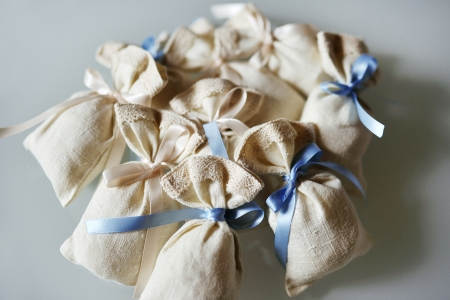 small gift bags wedding decor with bow satin ribbon