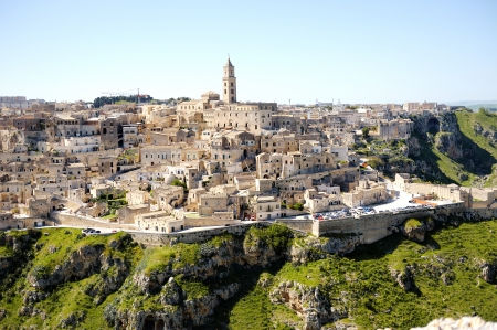 sassi: panoramic view of the ancient city heritage Matera, southern Italy