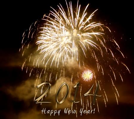 Frohes neues Jahr 2014 - buntes Feuerwerk erleuchten den schwarzen Nachthimmel