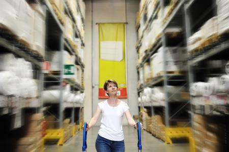 ferreteria: Mujer joven camina empujando el carro entre las altas estanterías de una tienda de mejoras para el hogar en un centro comercial