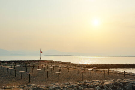 garda: nice view of a beach on Lake Garda at sunset, Desenzano del Garda