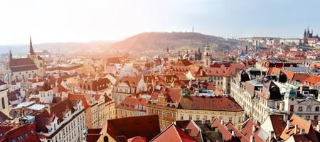 stare mesto: Prague panoramic view of Stare Mesto and Mala strana from Old Town Hall Tower, Praha, Czech Republic Stock Photo