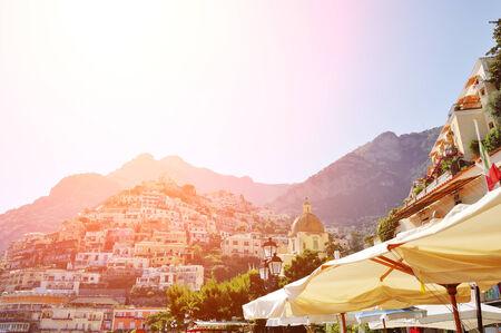 Positano beautiful view from the beach at sunset, Amalfi coast, Italy photo