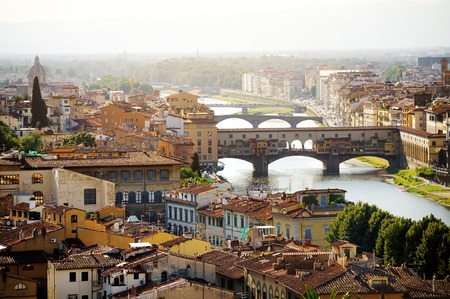 Florence and Ponte Vecchio panoramic view from Piazzale Michelangelo, Firenze, Italy photo