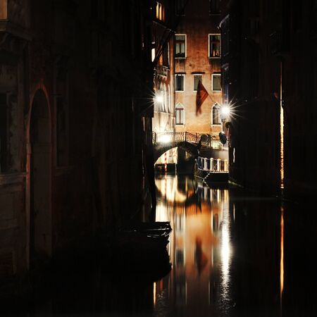 venezia: scenic view of a canal and bridge at night, Venezia, Italy