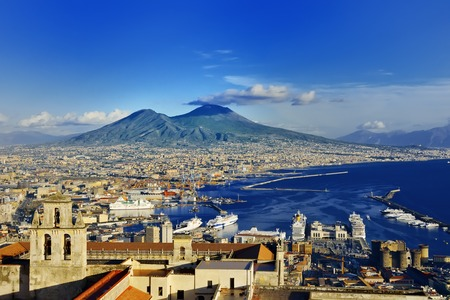 Napels en de Vesuvius panoramisch uitzicht, Napoli, Campanië, Italië