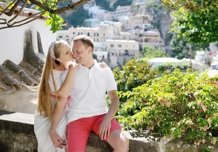positano: bride and groom smiling in wedding day, Positano, Italy Stock Photo
