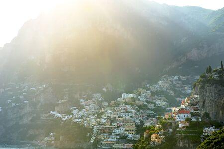 positano: Positano panoramic view in a sunny day, Amalfi Coast, Italy