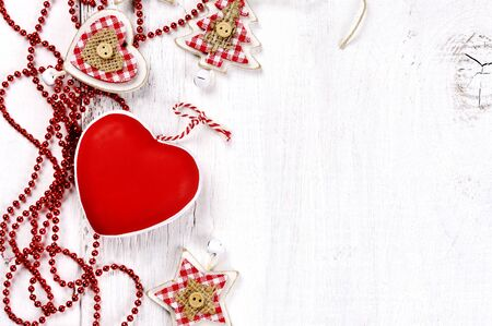good wishes: christmas decor - heart, star and tree on wooden background
