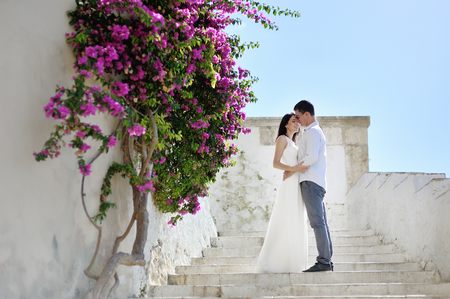 destination wedding: beautiful romantic couple in honeymoon in Sperlonga, Italy