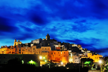 blue hour: Ostuni panoramic view at blue hour, Italy, Europe