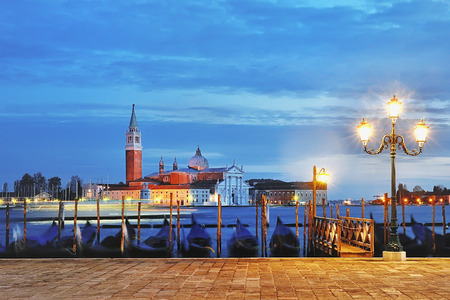 venezia: view of Canal Grande from Piazza San Marco at blue hour, Venice, Italy