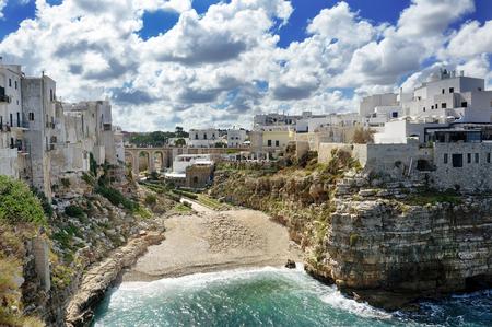 wonderful village in the rocks Polignano a mare on Mediterranean sea, Apulia, Southern Italy Фото со стока