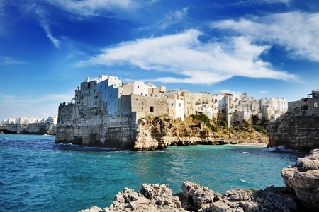 beautiful view of Polignano a mare, Apulia city on mediterranean sea, Southern Italy